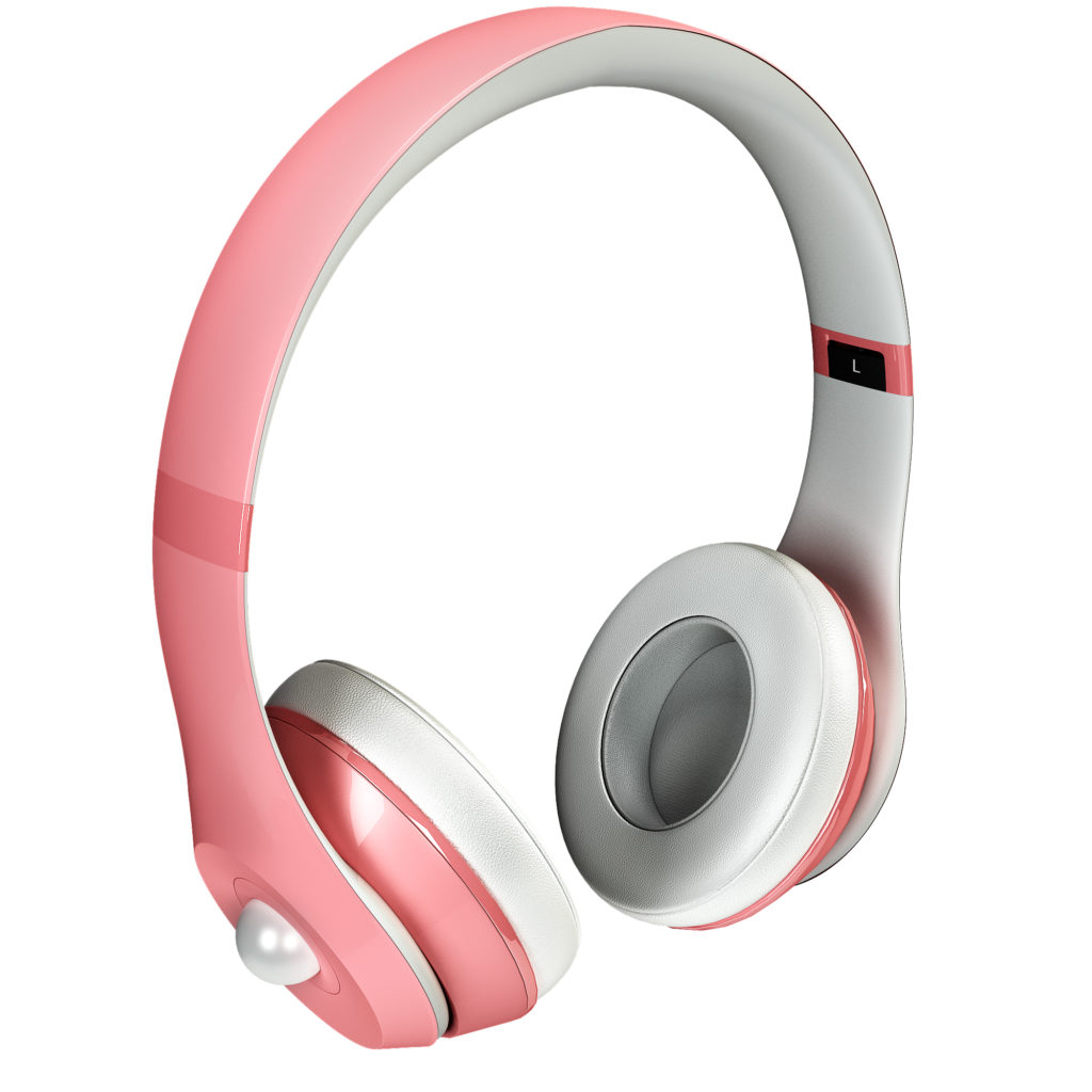 Pink Pearl Headphones with White Gem