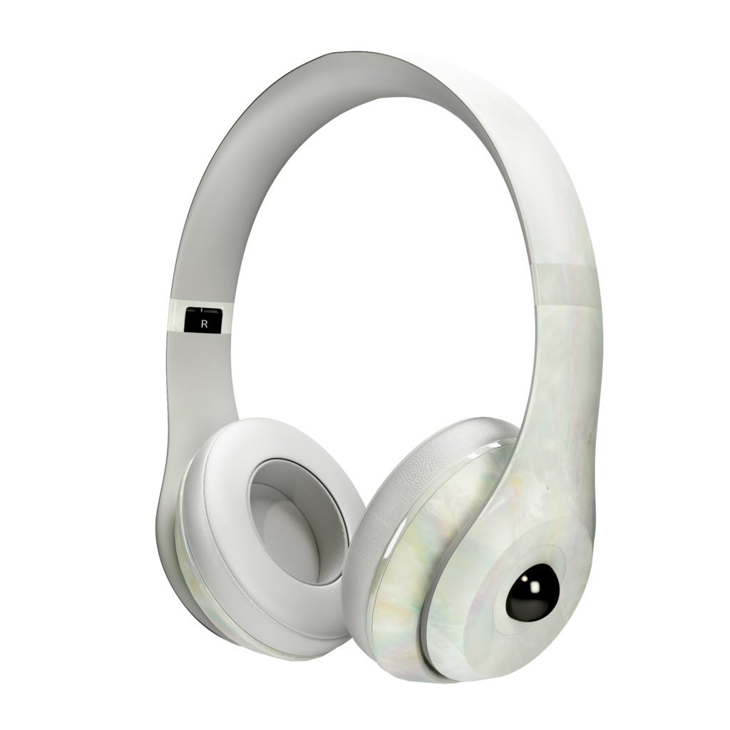 White Pearl Headphones with Black Gem