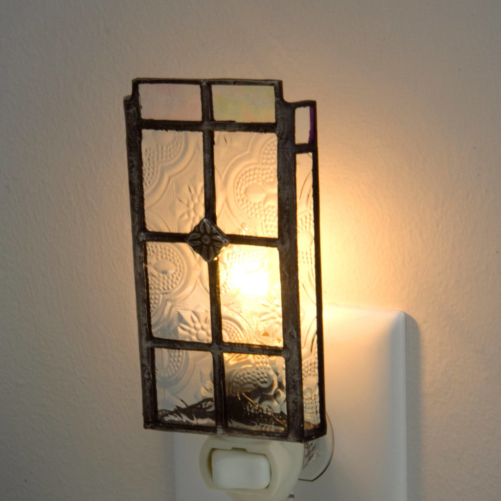 Windowpane Pattern Vintage Stained Glass Night Light