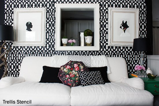 Black and White living room with a touch of floral color.