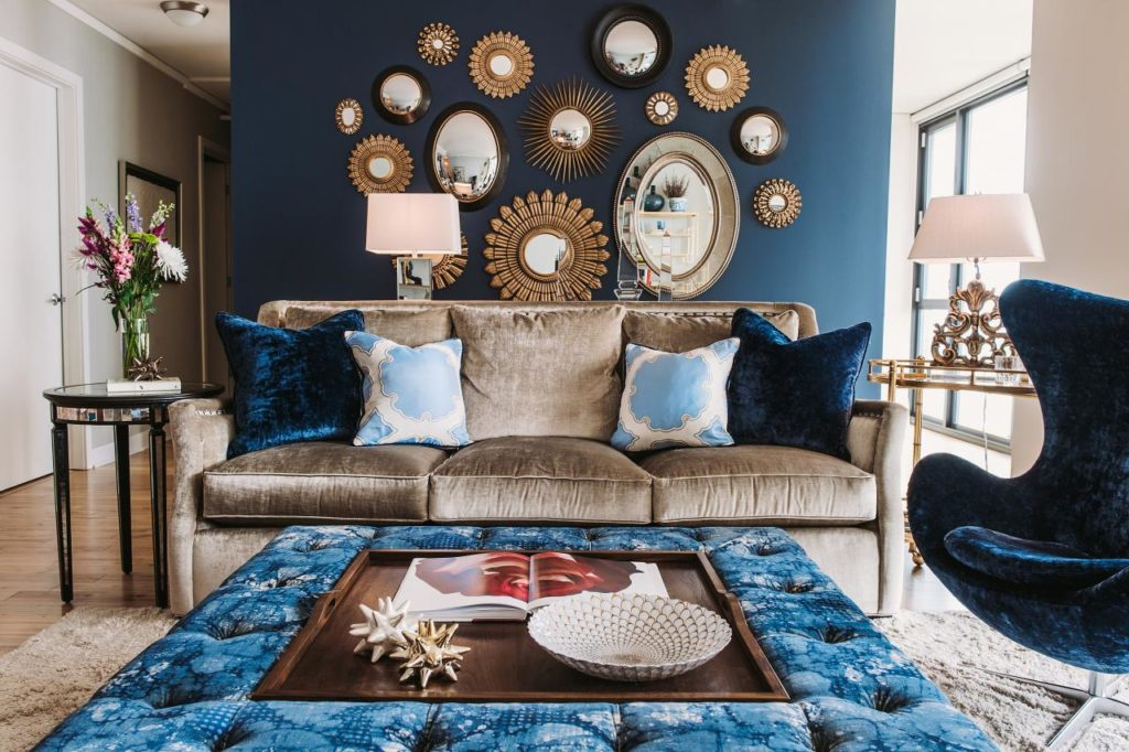 Check out this blue velvet furniture and home decor theme.