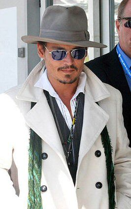 johnny depp fedora hat white coat
