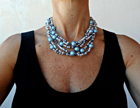 Layers of blue pearl necklaces