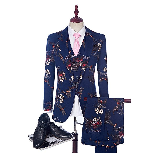 Men's Blue Floral Print Suit