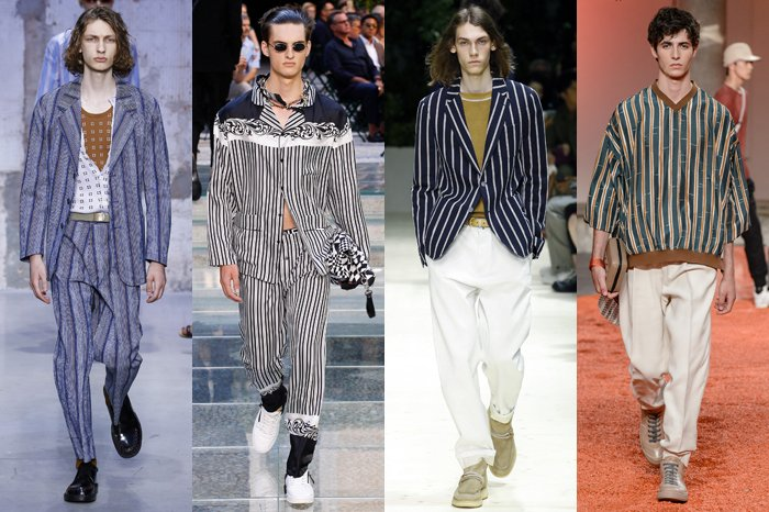Men Wearing Stripes on the Runway.