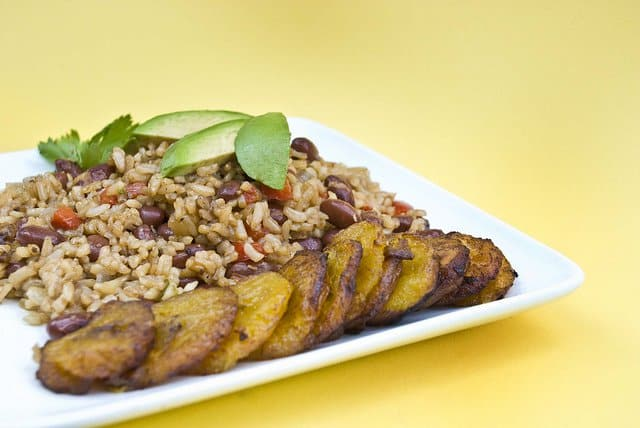 Viva Vegan Latin Food: Costa Rican refried rice and beans with a side of caramelized plantains and avocado slices.