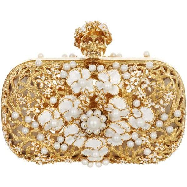 Alexander McQueen Metal Floral & Pearl Skull Box Clutch