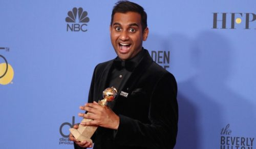 Aziz Ansari wearing a Time's Up pin at the Golden Globe Awards.
