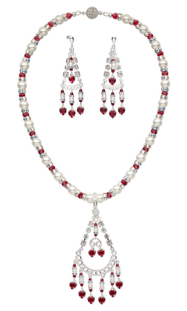 Crystals & Pearls Necklace & Earrings Set