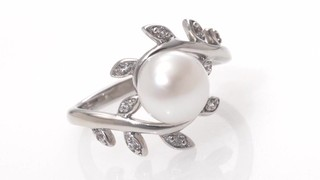 Pearl in White Sapphire Vine Ring