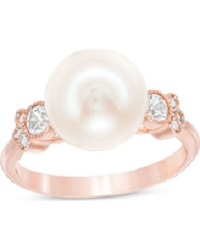 Pearl with White Sapphire & Diamond Accent in 10K Rose Gold. Image Source: Shape