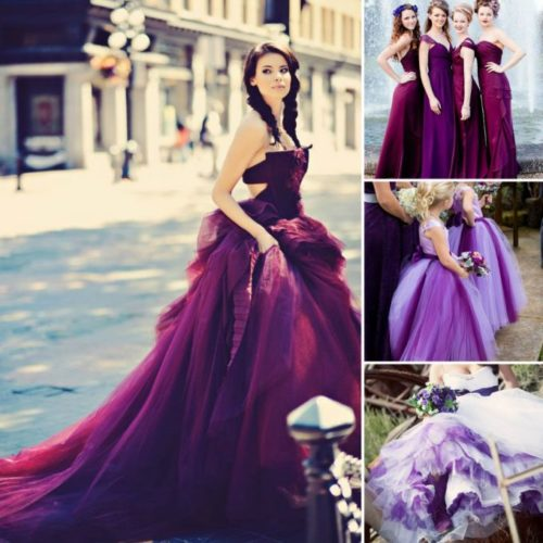 How the fashion industry contributes to society: Purple Wedding Dresses and other colors are becoming a norm as brides shy away from trendy white wedding gowns.