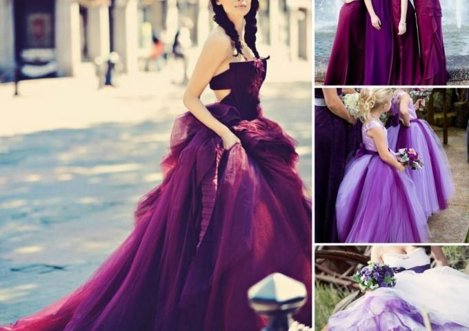 Purple Wedding Dresses and other colors are becoming a norm as brides shy away from trendy white wedding gowns.