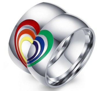 LGBTQ Stainless Steel Rainbow Wedding Bands