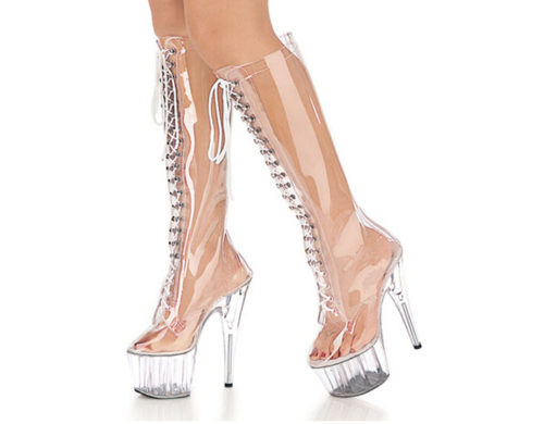 See Through PVC Boots for Women