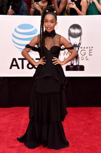 Yara Sahidi looked stylish AND trendy at the NAACP Awards.