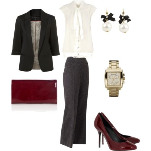 Basic boss lady outfit with deep red accessories.