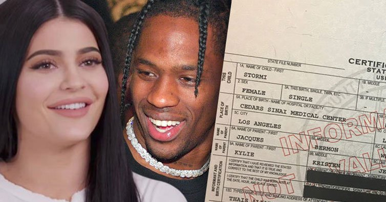Kylie Jenner, Travis Scott AKA Jacques Webster and their baby, Stormi Webster's birth certificate.