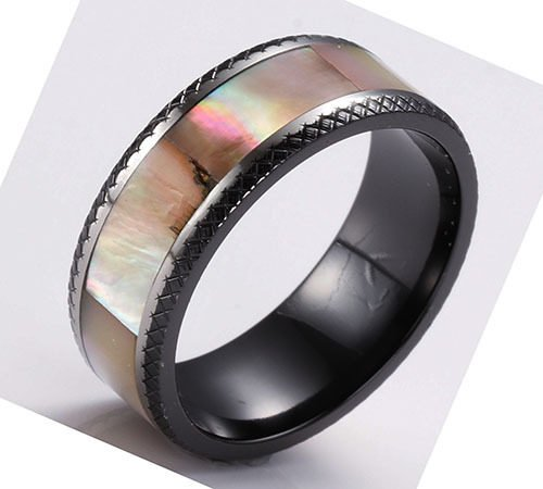 Men's Mother of Pearl Inlay Wedding Band in Black Zirconium