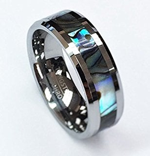 Check out how gorgeous this Men's Mother of Pearl Wedding Band looks with all it's sparkle, shine and luster.