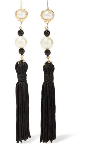 Net-a-Porter Kenneth Jay Lane Silk, Tassle and Pearl Earrings