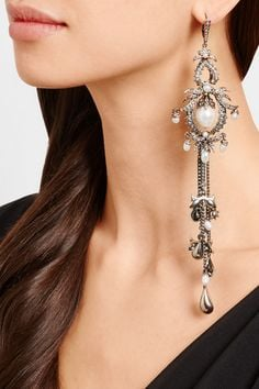 Net-a-Porter Pearl Earrings Alexander McQueen Silver Crystal and Faux Pearl Earrings