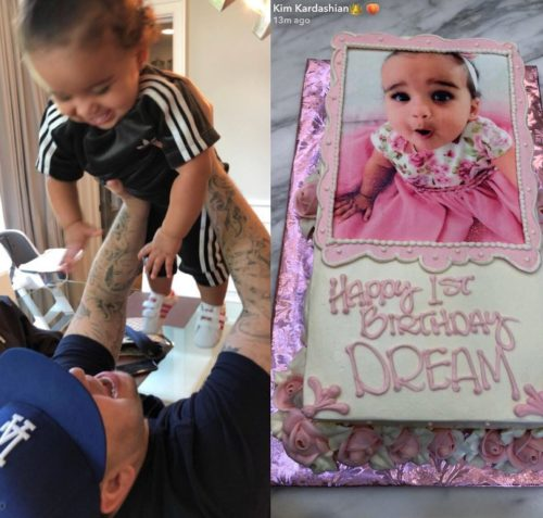 Rob Kardashian pictured with daughter, Dream as his family throw a 1st birthday party for her.