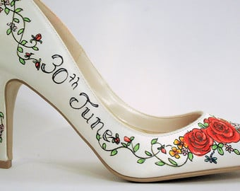 Rose Hand Painted Custom Bridal Shoes Engraved with Wedding Date