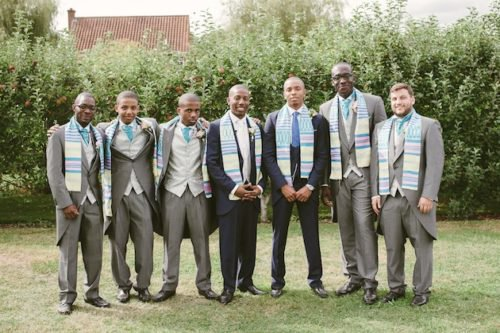 Groom and Groomsmen Wearing Multicultural Kente Scarves as a Sashes.