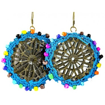 Usma Blue Crocheted Plastic and Bead Handmade Earrings