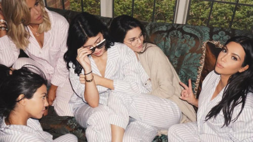 Kylie with her sisters and friend at her trend setting baby shower.
