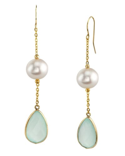 14K Gold Freshwater Pearl & Chalcedony Sophia Tincup Earrings from The Pearl Source