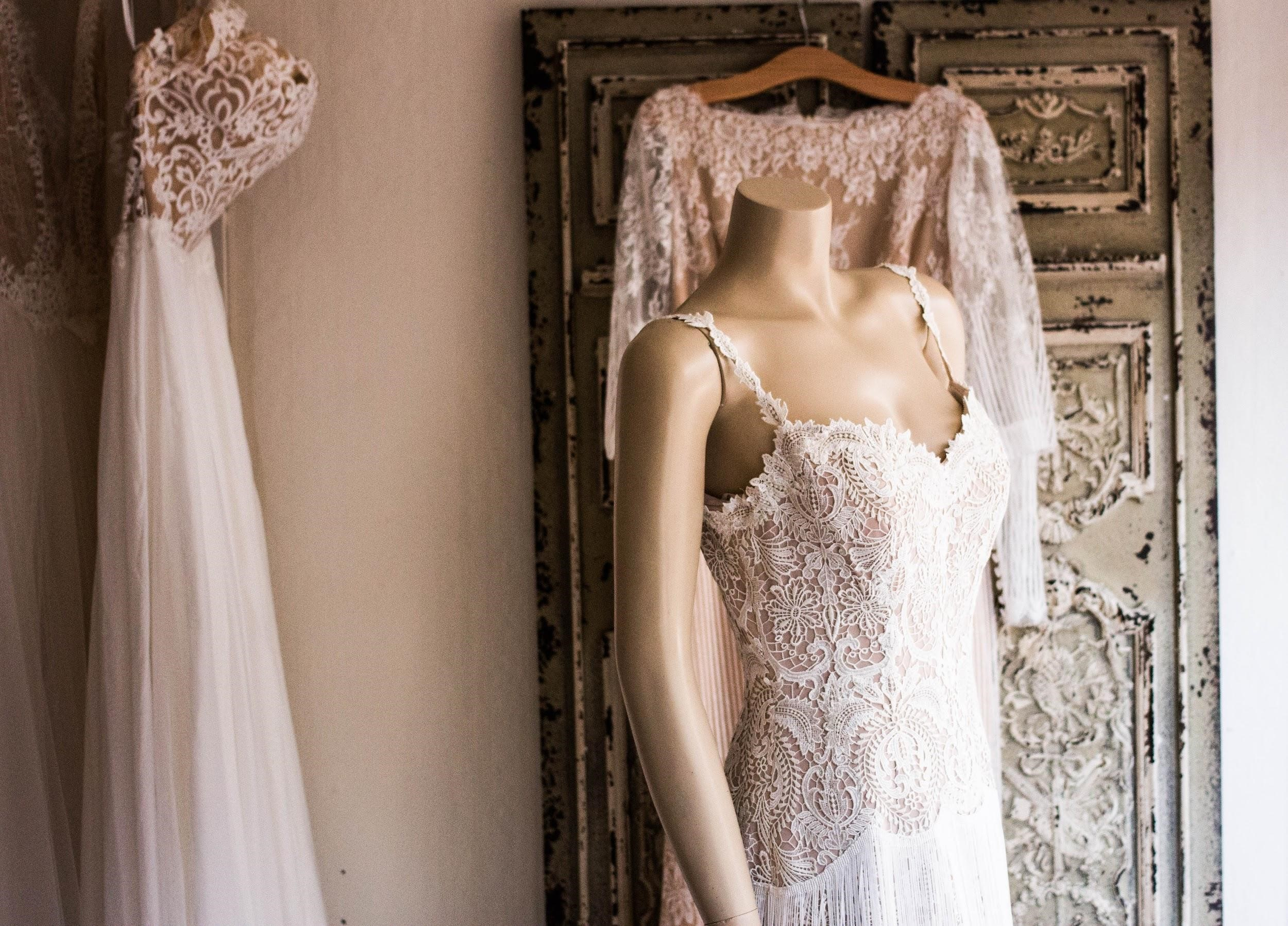 MannequinGets Fitted for Bridal Gown
