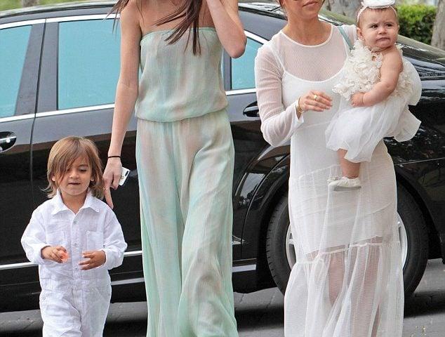 The Kardashian clan heads to church.