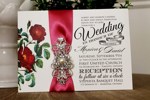 Vintage Wedding Invitation Embellished with Large Pearl Brooch