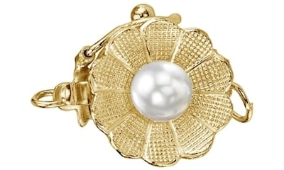 Yellow Gold Pearl Flower Clasp for Jewelry by The Pearl Source