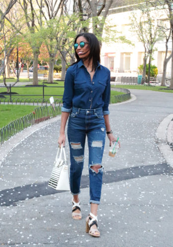 Check out this distressed denim outfit for the on-to-go woman.