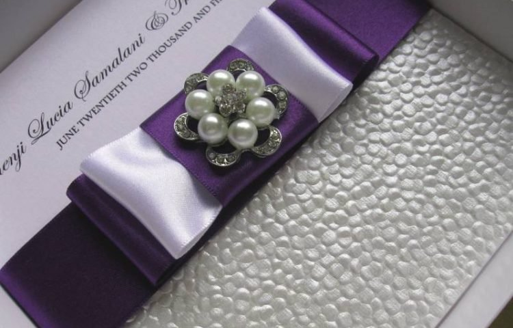 Luxury Handmade Diamante, Purple Satin & Pearls Wedding Invitation
