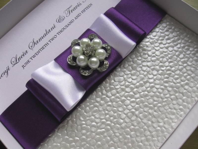 Luxury Handmade Diamante, Purple Satin & Pearls Wedding Invitation
