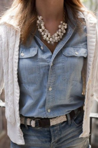 Check out this doubled down denim look accessorized with a pearl statement piece necklace.