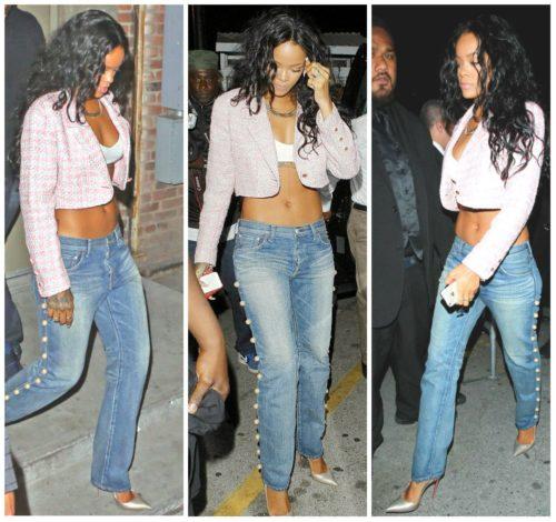 Rihanna Wearing Her Pearl Embellished Boyfriend Jeans