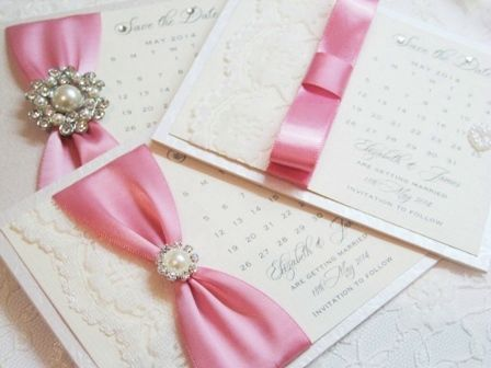 Pink Satin and Pearl Save the Date Cards