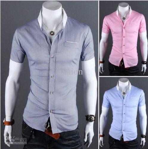 2018 Men's Short Sleeve Shirts Cotton Lapel