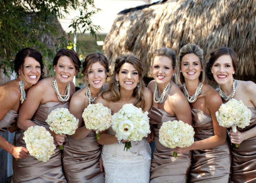 Don't these bridesmaid look amazing wearing chunky pearl statement necklaces?