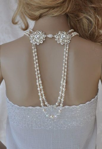 Crystal & Pearl Body Back Necklace