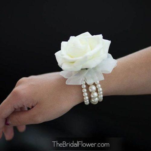 Elegant Rose Wrist Corsage Set on a Pearl Bracelet