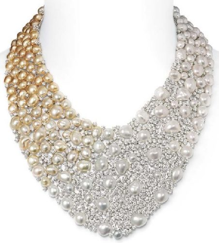 Mikimoto Aurora necklace with Golden South Sea Keshi pearls from Pearl Jeweler Mikimoto
