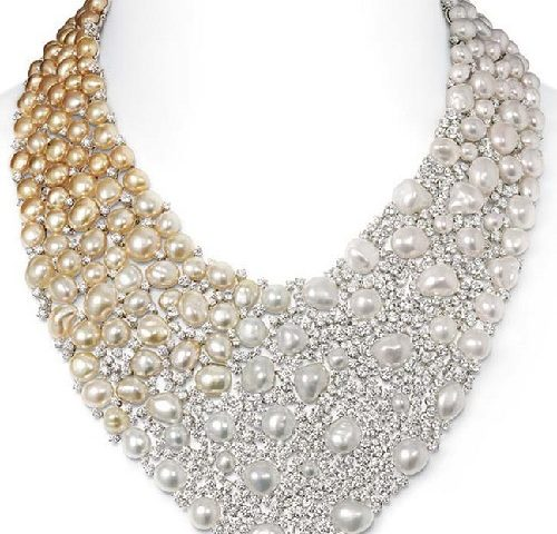 Mikimoto Aurora necklace with Golden South Sea Keshi pearls