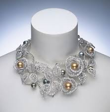 Mikimoto Necklace with Golden South Sea Pearls and Diamonds