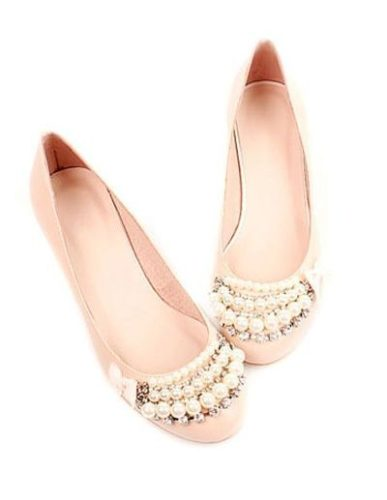 Sweet Pink Round Toe Flat Sheepskin Pearl Prom Shoes